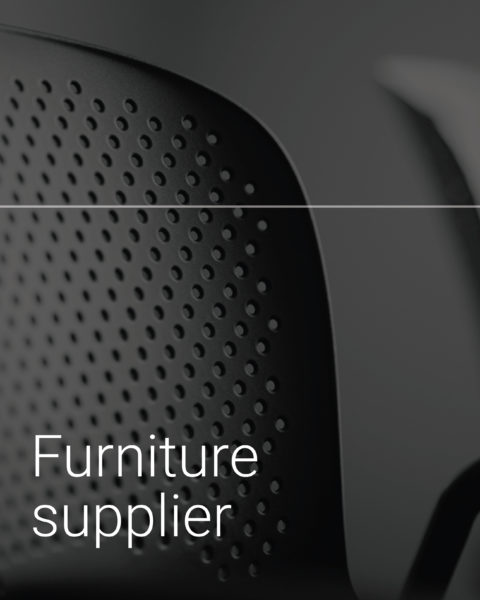 Service button from website, which feature a black and white image of a chair with white text.