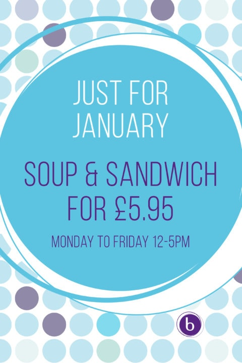 Bold blue polka dot background with a large centred circle advertsing soup and sandwiches for £5.95.