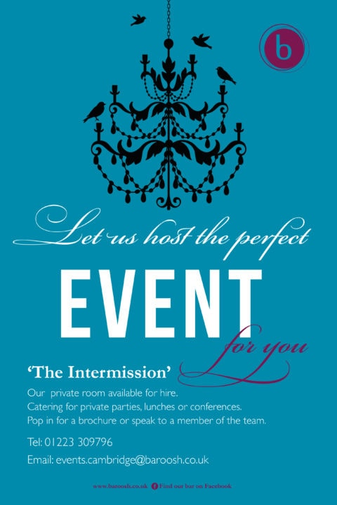 Blue event poster featuring a silhouette of a chandelier