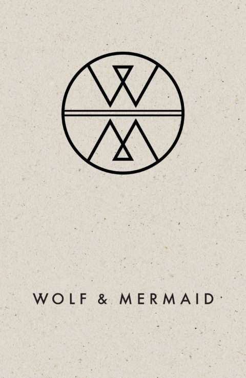 Textured brown paper background with the Wolf & Mermaid logo in black.