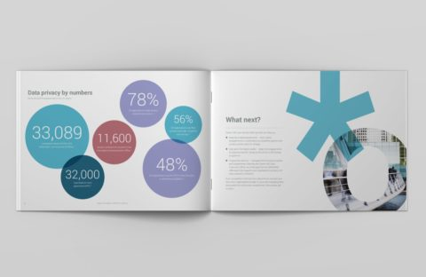 Double page spread of brochure design